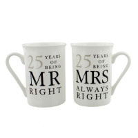 Amore 25th Anniversary Set of 2 China Mugs 'Mr Right & Mrs Always Right' WG67725