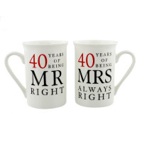 40th Anniversary Gift Set of 2 China Mugs 'Mr Right & Mrs Always Right'