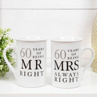 AMORE BY JULIANA® MR & MRS MUG SET - 60 YEARS WG67760