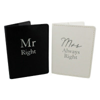 Amore Set 2 Passport Holders - Mr Right & Mrs Always Right