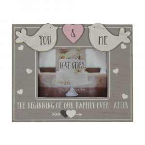 """5"""" X 3.5"""" - LOVE STORY WOODEN BIRDS PHOTO FRAME - YOU & ME WG742"""