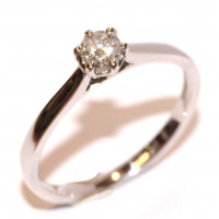 9ct White Gold (0.16pts) Single Stone Diamond Ring CSS16PTS