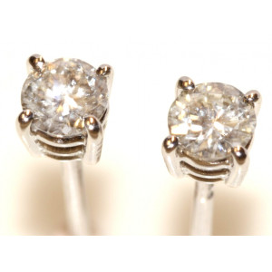 9ct White Gold Single Stone Diamond Earrings 22 points