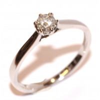 9ct White Gold Single Stone Diamond Ring  21 points
