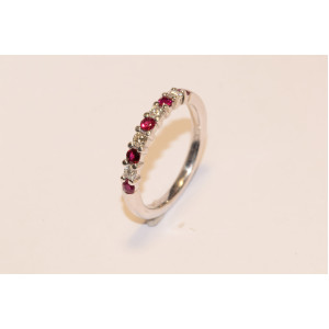 18ct Diamond & Ruby Half Eternity Ring UKD995