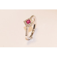 18ct White Gold Diamond and Ruby Cluster Ring NI18RDWG