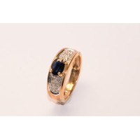 9ct Gold 'Gypsy' Style Sapphire and Diamond Ring
