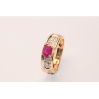 9ct Gold 'Gypsy' Style Ruby and Diamond Ring