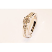 9ct White Gold Diamond Shoulder Engagement Ring ES7768ECA