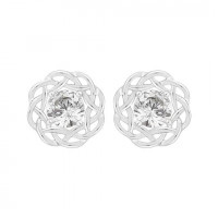 Silver Single Stone Swarovski Zirconia Stud Earrings In A Nest Setting