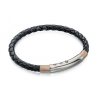 Fred Bennett S/S And Rose Gold Plated Leather Bracelet B4687