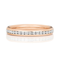 18ct Rose Gold Diamond Channel Set Wedding Band WQ220R