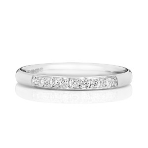 18ct White Gold Diamond Grain Set Wedding Band WQ221W