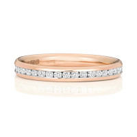18ct Rose Gold Diamond Channel Set Wedding Band WQ230R