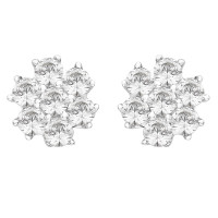 Silver Seven Stone Swarovski Zirconia Cluster Stud Earrings