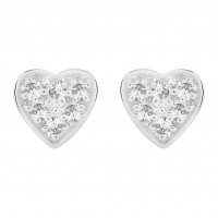 Silver Heart Shaped Pave Set Swarovski Zirconia Stud Earrings