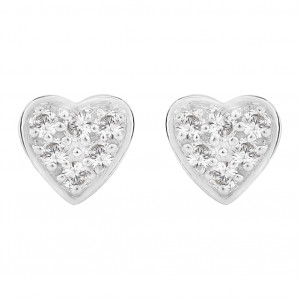 Heart Shaped Pavé Set Stud Earrings (0.15ct)