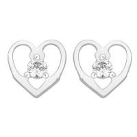 Single Stone Stud Earrings in Heart Mount (0.15ct)