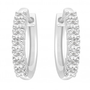 Seven Stone Claw Set Huggy Earrings (0.50ct)