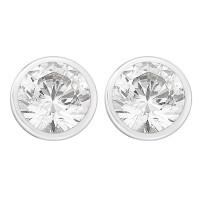 Single Stone Rubover Set Stud Earrings (2.00ct)