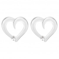 Heart Stud Earrings With A Single Stone (0.10ct)