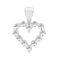 Silver Claw Set With Swarovski Zirconia Heart Pendant (0.50ct)