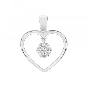 Heart Pendant With Swinging Cluster (0.25ct)