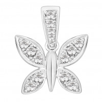 Silver Claw Set Butterfly Pendant With Swarovski Zirconia