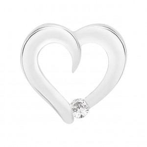 Heart Pendant With A Single Stone (0.10ct)