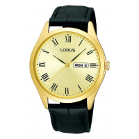 Lorus Gents GP Gold DL Black Starp Day/Date Watch