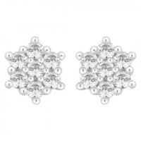 Silver Seven Stone Flower Cluster Swarovski Zirconia Stud Earrings