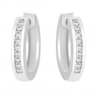 Silver Swarovski Zirconia Channel Set Huggy Earrings