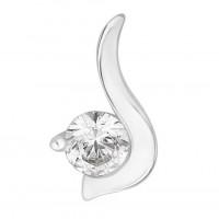 Silver Single Stone Swarovski Zirconia Twirl Pendant