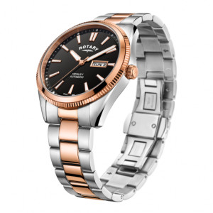 Rotary Gents Two Tone Rose Serrated Bezel Henley GB05382/04