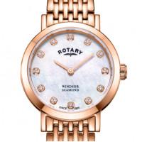 Rotary Windsor Ladies Rose Coloured Diamond Bracelet Watch LB05304/41/D