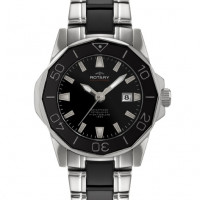 Rotary Aquaspeed Stainless Steel & Ceramic Ladies Bracelet Watch ALB00030/W/BLK