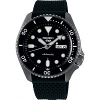 SEIKO 5 Men's Black Silicone Automatic Sports Watch SRPD65K2