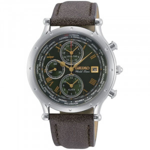 Seiko World Time Special Edition Leather Strap Watch SPL057P1