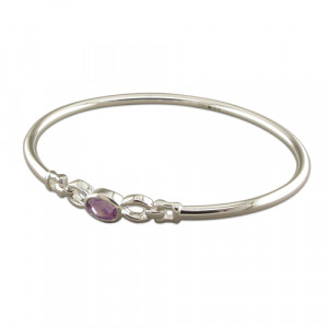 Silver And Amethyst Bangle
