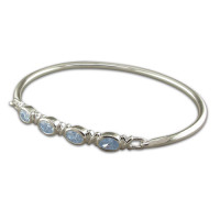 Silver And Blue Topaz Bangle