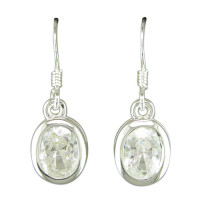 Silver And CZ Drop Earrings