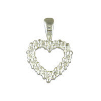 Silver Claw Set Cz Heart Pendant with 18in Chain