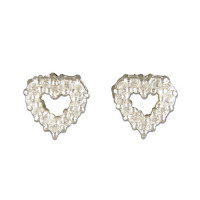Silver CZ Claw Set Cut Out Heart Earrings