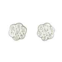 Silver CZ Flower Cluster Earrings