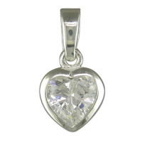 Silver CZ Heart Pendant with 18in Chain