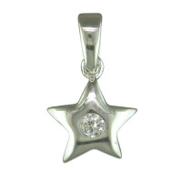 Silver CZ Star Pendant with 18in Chain
