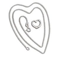 Silver Diamond Heart Pendant And Chain