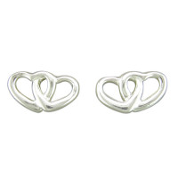 Silver Double Heart Studs