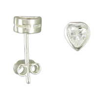 Silver Heart CZ Earrings