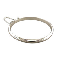 Silver Ladies Engraved Bangle